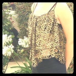 Ecote Tops - Ecote Handkerchief style Gold Lace  Tank Top.